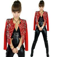 The jacket Tassel Ultra-short paillette cape coat Ds stage clothes Hip-hop Only coat