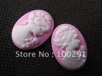 Free ship!!! 200pcs/lot Vintage resin Cameos Lady Portrait Cabochons Cameos white on pink color 18*25mm