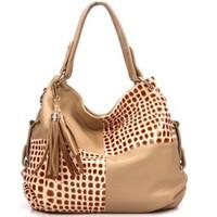 New 2013 Hot Fashion Brand Women Messenger Bag Women Genuine Leather Handbags Crocodile Pattern Patchwork Tassel Large Big Purse