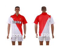Monaco home red soccer jersey kits 13 14 football uniforms with embroidery logo free Customize name number