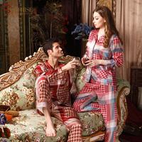2013 autumn quality faux silk lovers sleep set male women's silk long-sleeve lounge