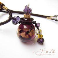 2015 fashion women Colored glaze essential oil bottle girl/lady  necklace gift pendant torque
