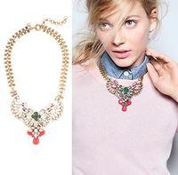 atacado de bijuteria Fashion Pink Gem Crystal Glass Womens Statement Choker Necklaces Brand Design Wholesale Luxurious Elegant