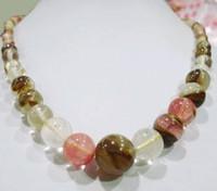 6-14mm Watermelon Tourmaline Gems Beads Necklace 18''