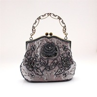 New Gray Handmade Fashion bag beading Womens Handbag Evening bags Shoulder Clutch bag Purse Free shipping B0068