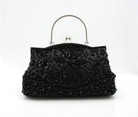 Wholesale Retail Black Handmade Fashion bag beading ladies Handbag Evening bags Shoulder Clutch bag Purse B0076