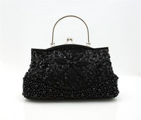 Wholesale Retail Black Handmade Fashion bag beading ladies Handbag Evening bags Shoulder Clutch bag Purse B0076