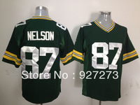 American Football Team Green Pay # 87 Jordy Nelson Men's Game Jerseys Wholesale Embroidery Logo Free Shipping Green White 40-60