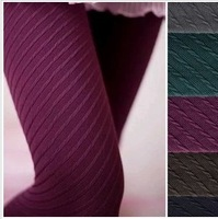 Autumn and winter ultra elastic vertical stripe thick pantyhose black stockings thin women's socks