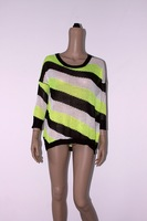 Summer women's casual loose bat loading the multicolour stripe strapless personality sweater hypotenuse yarn