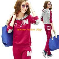 Autumn 2013 Slim new Korean female models sport suit Long sleeve sportswear leisure suit lady cotton sweater for women