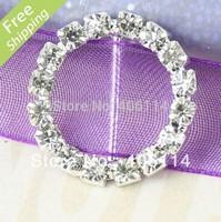 MIC 50 Round Crystal Rhinestone Ribbon Slider Buckles Wedding Invitations 20mm