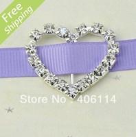 MIC 50 Heart Crystal Rhinestone Ribbon Slider Buckles Wedding Invitations 29mm