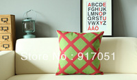 Free shipping Christmas gift Ikea style green red yellow rhombus Pattern cushion cover home car bar decorative throw pillow case