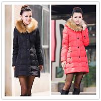 Free shipping winter women duck down jacket lady's medium-long slim style down coat fur collar plus size warm coat jacket