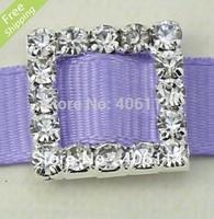 MIC 50 Silver Plated Crystal Rhinestone Square Buckles 15MM Wedding Invitations