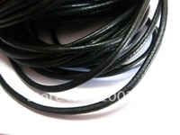 Free ship!!! 100meters/roll black 5mm round geunine leather cord
