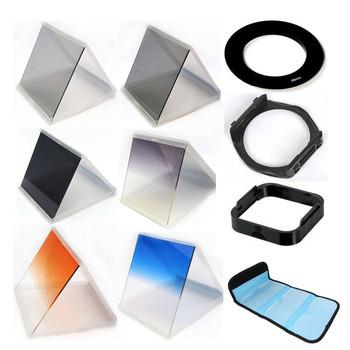 10 1 filter set gradient mirror x3 nd mirror +72mm adapter ring +filter holder+filter bag case +Lens Hood & Holder for Cokin P