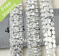 MIC 3 Row Costume Applique Crystal Rhinestone Trims Silver x 1 Yard Wedding Dec