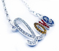Promotion silver crystal rhinestone LOVE Letter necklace fashion necklace free shipping