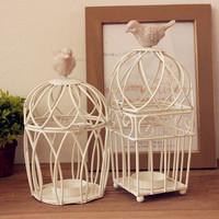 Zakka fashion white iron birdcage mousse Candle Holders novety intem two models can choose  free shipping