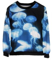 Harajuku fashion winter sweater pullover blue sky jellyfish sea 3d printing Autumn women new sweatshirts hoodies HOT