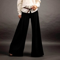 Basic all-match woolen wide leg pants plus size trousers black 2013