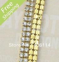 MIC 2-row Crystal Rhinestone Trims Close Chain Gold ss16 x1 yard Wedding