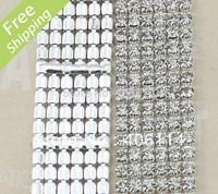 MIC 6-row Crystal Rhinestone Trims Close Chain Silver ss16 x1 yard Wedding Dec