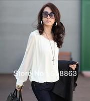 #NTX0172 Free Shipping 2013 Fashion Women's Tops Rivet Long Sleeve Sheer T Shirts Ladies White Chiffon Loose Blouse Plus Size
