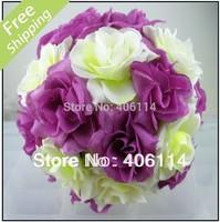 "MIC 2X 5"" Purple Ivory Silk Rose Flower Kissing Ball Wedding Flowers Decoration"