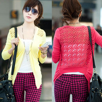 13 women's back lace cardigan female cutout sunscreen sweater shirt air conditioning shirt