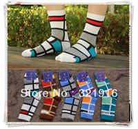 big sale !12 prs lot  plaid socks shoe causal crew socks new  free shipping mens cotton dress socks  breathe freely  mix colours