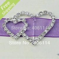 MIC 25 Double Heart Crystal Rhinestone Ribbon Slider Buckles Wedding Invitations