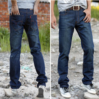 Male jeans trousers 2012 autumn men's brief straight jeans Dark Blue