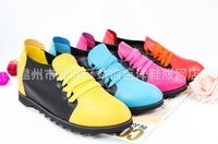 2013 New Colorful Aumtun&Winter Women Outdoor Flats Shoes High Quality PU Leather Fashion Sport Flat Shoes 9807 Free Shipping