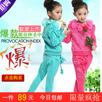 Children's clothing female child autumn lace long-sleeve set child sports clothing baby