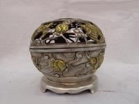 Chinese White Copper Silver Gild Dragon Phoenix Play Bead Censer incense burner z