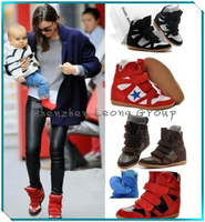2014 Newly Isabel Marant Women's Velcro Strap High-TOP Sneakers Shoes Ladys Ankle Wedge Boots