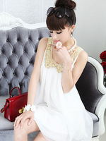 Hot 2013   Small white Jinling Sleeveless doll models Chiffon Dress Free Shipping Good Quality