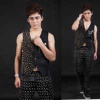 Free shipping!!!men's fashion Singer costumes Male costumes ds costume gold rivet suit small vest/S-XXXL