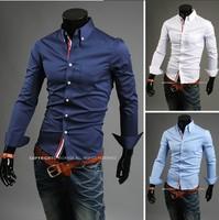 Free Shipping 2014 Mens Slim fit Unique neckline stylish Dress long Sleeve Shirts Mens dress shirts 6colors size: M-XXXL