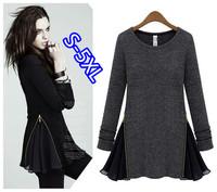 spring autumn new fashion cotton chiffon black gray long sleeve plus size casual blusas femininas 2014 t shirt women blouse
