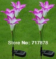 4pcs/lot New Purple Lily Solar 3 LED Flower Garden/Path Light Lawn Yard Lamp Lights Hot Free Shipping