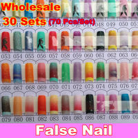Wholesale 70pcs/Box Glitter Nail Tips Pre Design Acrylic Art Manicure False French 139 Colors Mix Colorful Nails, Free Shipping