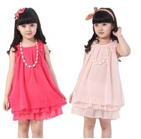 Hot Sale 2013 New Summer Girls Dress Princess Dress Children Chiffon Dress pink red + necklace Free Shipping