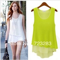 2013 summer new arrival women's candy color all-match patchwork faux two piece spaghetti strap vest chiffon skirt