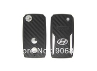 2pc/lot 2 Buttons Modified Flip Remote Blank Key Shell Case for Hyundai Terracan 3D Carbon Fiber Sticker + HKP Free Shipping