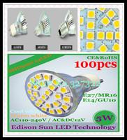 FedEX Free Shipping 100 pcs SMD 5050 24 LED 5W GU10 E27 E14 MR16 AC110-240V/AC&DC12V LED Spotlight Bulb LED light Downlight lamp