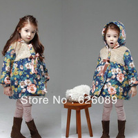 hot sale! winter girls folower jacket  girl's coat.girl winter thick coat overcoat free shipping